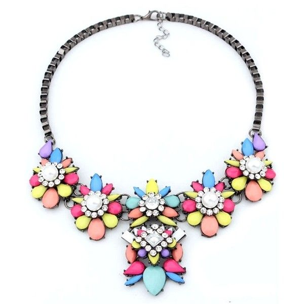 Multi-Color Faux Stone Statement Necklace OASAP.COM ($8.86) ❤ liked on Polyvore featuring jewelry, necklaces, floral statement necklace, colorful statement necklace, box chain necklace, multi colored statement necklace and tri color necklace
