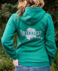 Green Zip Up Hoodie ~ The Alaska Life ~ $45