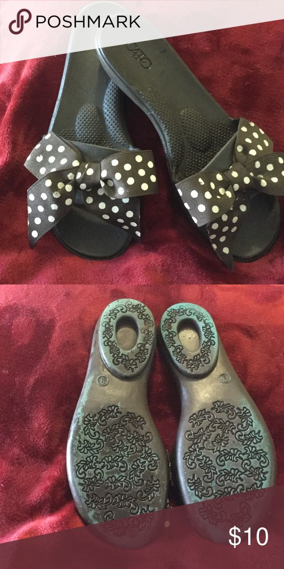 Cato Brown Bowed Sandals Cato chocolate brown plastic sandals with a brown and white polka dot bow; great condition, very comfortable Cato Shoes Sandals