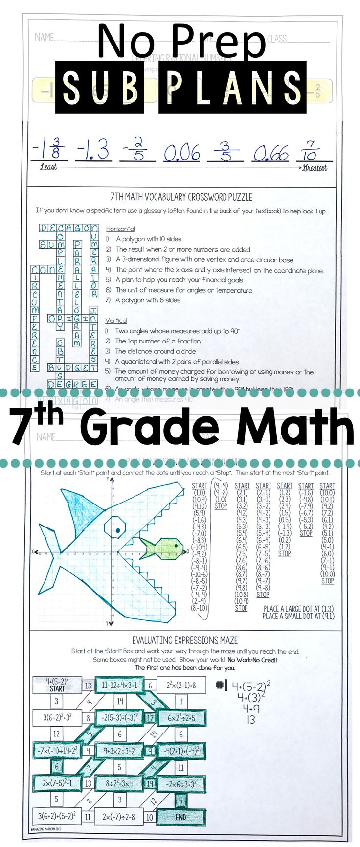 These no prep sub plans SAVED MY DAY when I was sick last year.  My 7th grade math students loved this substitute teacher worksheet and I loved that it was no prep.  All I had to do was print it and I was done.  Love!