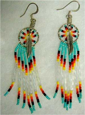Beaded Native American Earring Patterns | Earrings, Native American Indian, beaded, #14 [S.XD]