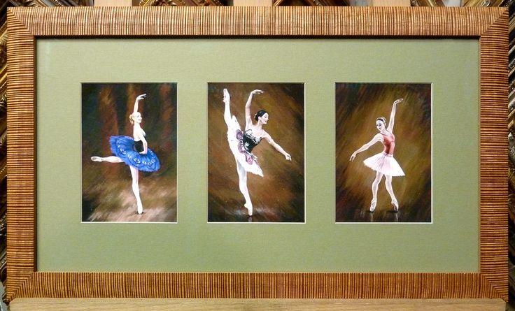 Триптих. Деревянный багет, паспарту, безбликовое стекло.
