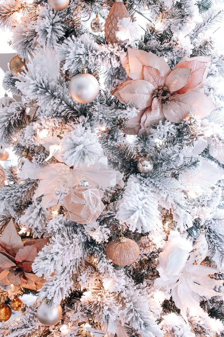 Sapin de Noël en blanc Décorations de Noël blush rose or
