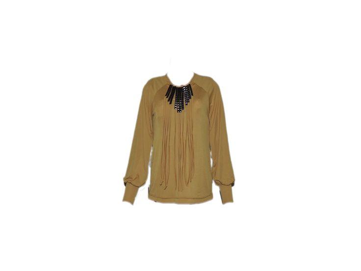 Demirli Büzgülü Hardal Bluz