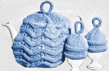 Ripple Tea Cozy & Egg Cozies Vintage Knitting Pattern for download