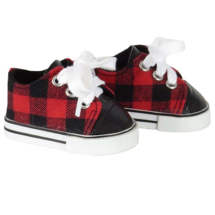 American Girl Boy Doll Shoes - Silly Monkey - Red and Black Plaid Sneakers, $6.00 (http://www.silly-monkey.com/products/red-and-black-plaid-sneakers.html)