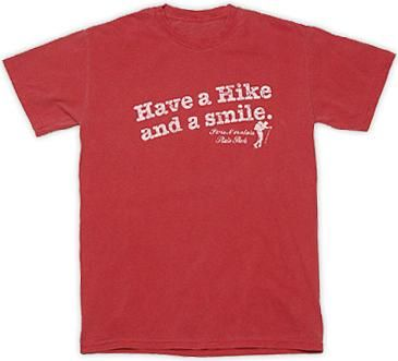 Have a Hike and a Smile t-shirt for Paris Mountain State Park in Greenville, SC.  In red for $19.99.