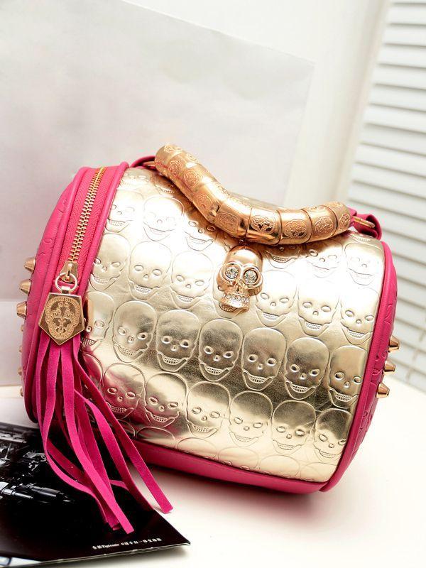 Barrel-shaped PU Skull Fashion Bag : KissChic.com