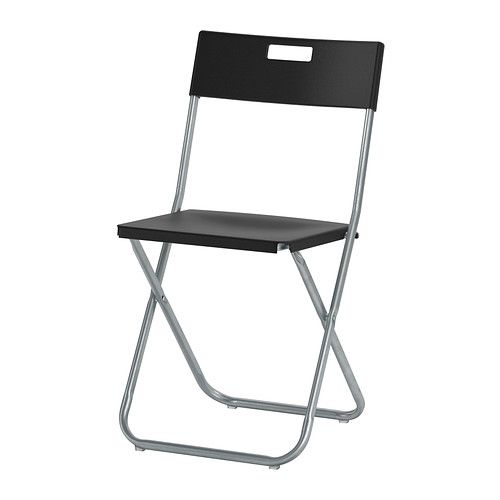 IKEA - GUNDE, Folding chair, You can fold the chair, so it takes less space when you're not using it.</t><t>It's easy to carry and hang on the wall thanks to the cut-out handle in the backrest.</t><t>Locks in the open position to prevent unintenional folding. $7.99