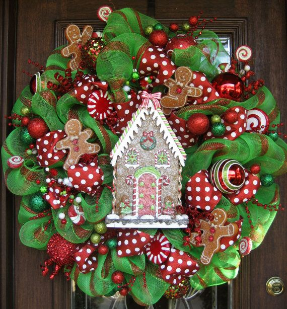Deco Mesh GINGERBREAD HOUSE CHRISTMAS Wreath by decoglitz~ Would like to make instead of buy. Worth a try.....Ribbon, trinkets, wire frame, and some other do dads