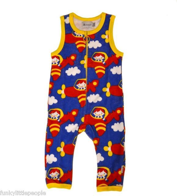 Finnish Mussukat Retro Boy Pilot Jumpsuit in Organic Terry Cotton