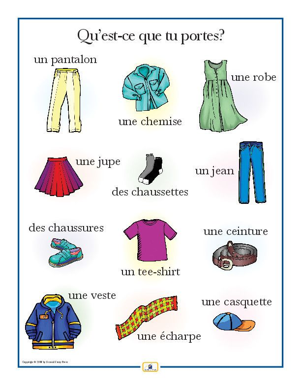 Introduce clothing vocabulary with this colorful 18 x 24 in. poster that includes a free guide with teaching suggestions and practice worksheets.