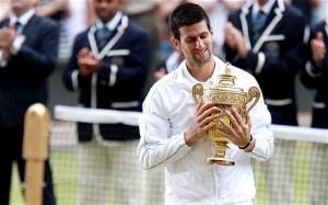 My favorite tennis player! Novak Djokovic after winning his first Wimbledon title.