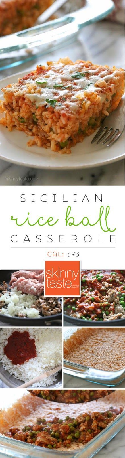 Sicilian Rice Ball Casserole – everything you love about arancini made into an easy casserole for weeknight dinners. Freezer friendly and kid-friendly!