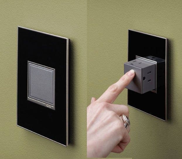 This ACTUAL electrical outlet eliminates the need for power strips, and looks much nicer on your wall