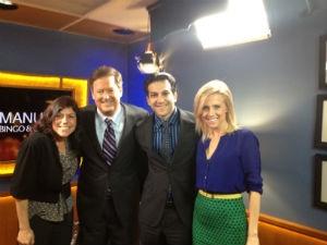 CEO Arman Sadeghi and PR Coordinator Claudia Schou with KTLA news.