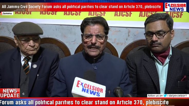 All Jammu Civil Society Forum asks all political parities to clear stand on Article 370 plebiscite