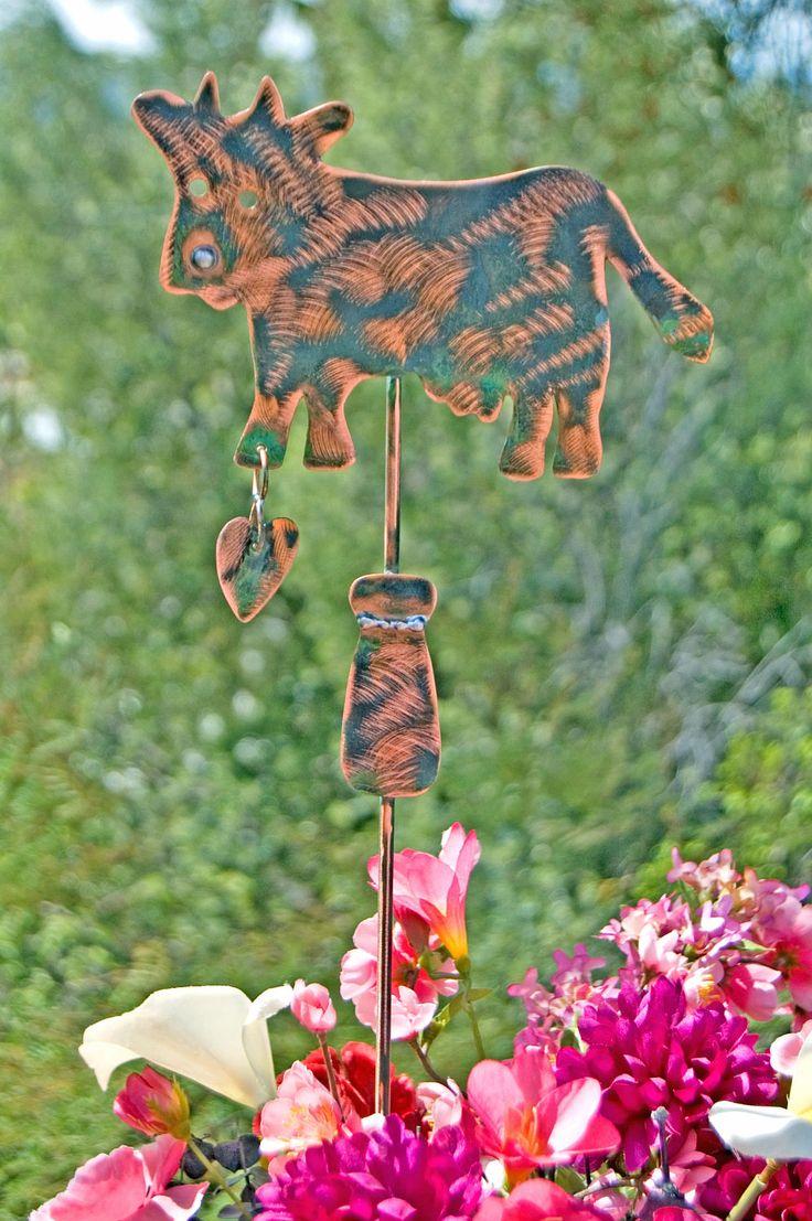 Cow Garden Stake / Metal Yard Art / Copper Art / Cow Sculpture / Barnyard Farm Animal / Cow Lovers Gift / Outdoor Decor / Pet Memorial by GardenCopperArt on Etsy