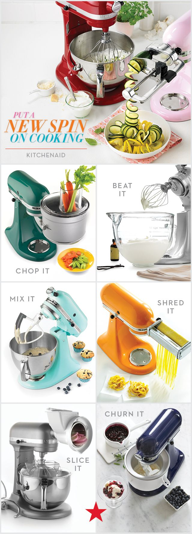 Whether you're slicing, shredding, or chopping it up, the KitchenAid professional stand mixer has all the attachments you need for a season full of fresh, new homemade favorites.