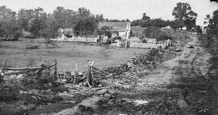 Union General Meade's headquarters on Cemetery Ridge during the Battle of Gettysburg, 1863
