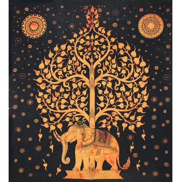 Tenture indienne motif éléphant et arbre de vie. Tenture murale noire et or.