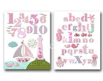 Pink bathroom wall art pink nautical nursery art by PinkRockBabies