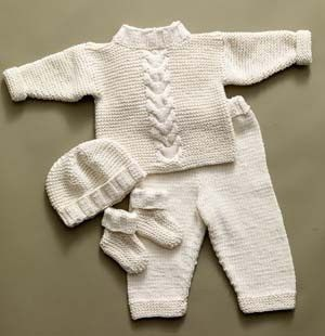 Free knitting pattern for Cabled Baby Set with top, pants, hat, and booties