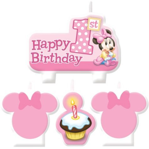 Minnie Mouse 1st Birthday Candles 4ct Party City For Rory Supplies Parties