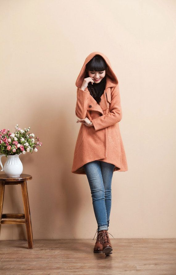 Irregular Sweep Long Sleeve Wool Winter Coat Jacket by deboy2000