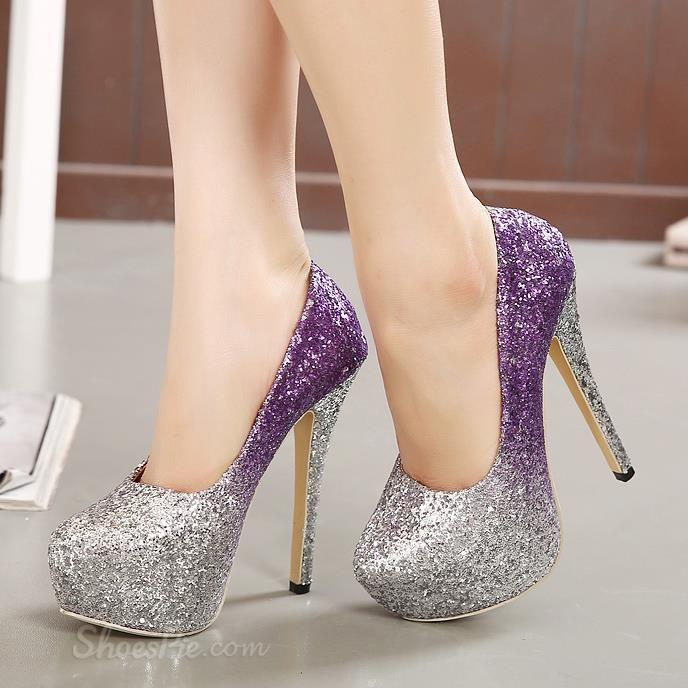Shoespie Shining Stiletto Heel Platform Heels