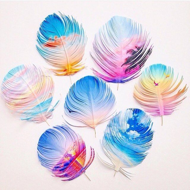 Omg! These paper feathers by @erinlightfeather using images by @ozgecenberci are 😍😍😍😍😍 and have pulled me out of the gloom of this rainy day!
