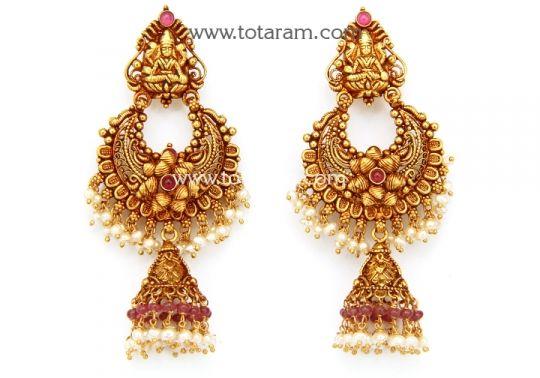Chandbali Earrings - Temple Jewellery - 22K Gold 'Lakshmi' Drop Earrings: Totaram Jewelers: Buy Indian Gold jewelry & 18K Diamond jewelry