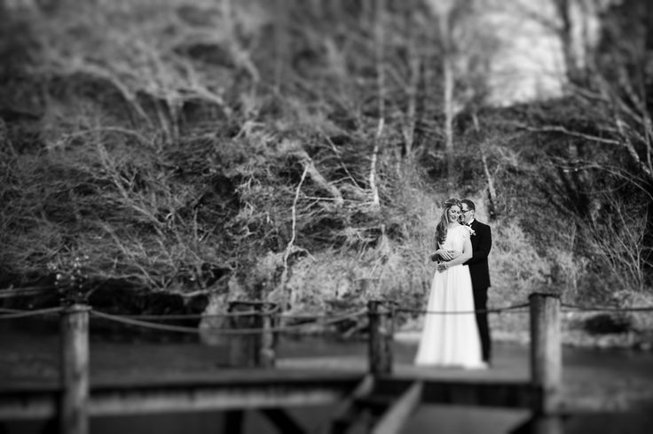 Bride and Groom near the lake at Ballinacurra House