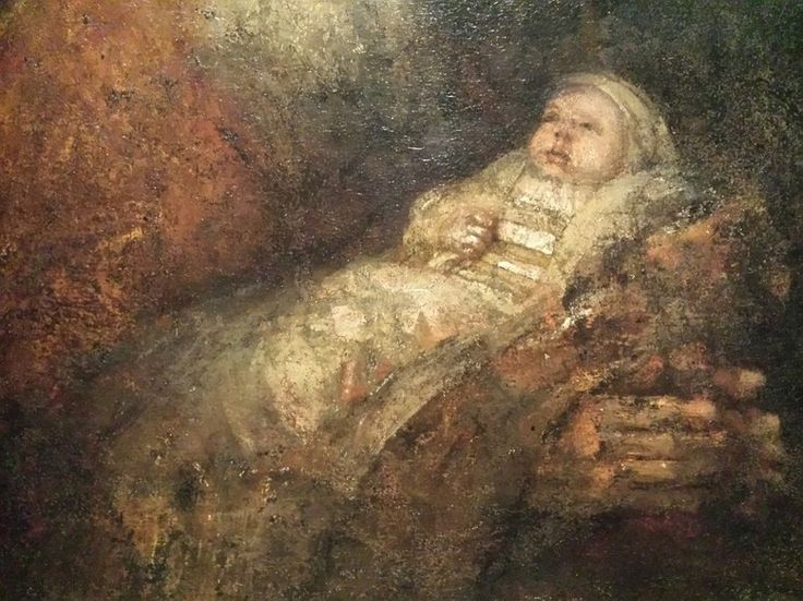 Late Rembrandt in het Rijksmuseum in Amsterdam. Detail van zijn laatste werk De lofzang van Simeon.