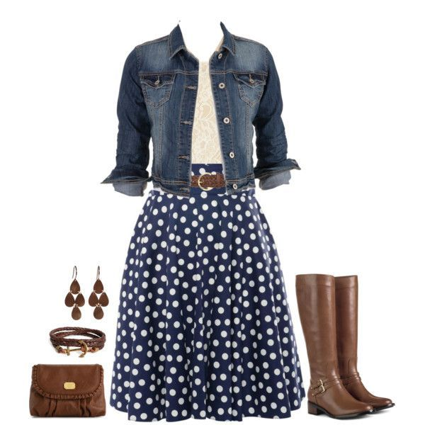 Navy Polka Dot skirt, denim jacket, lace top with brown boots and accessories.