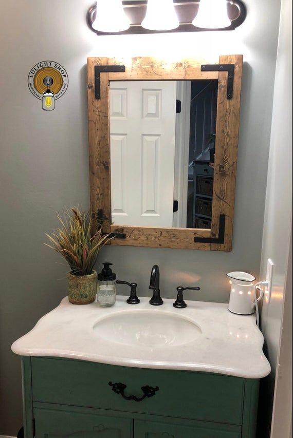 Rustic Distressed Mirror Farmhouse Mirror Wood Mirror Etsy