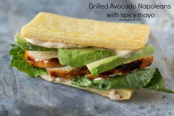 Grilled Chicken Avocado Napoleans with buttery puff pastry and creamy avocado se…