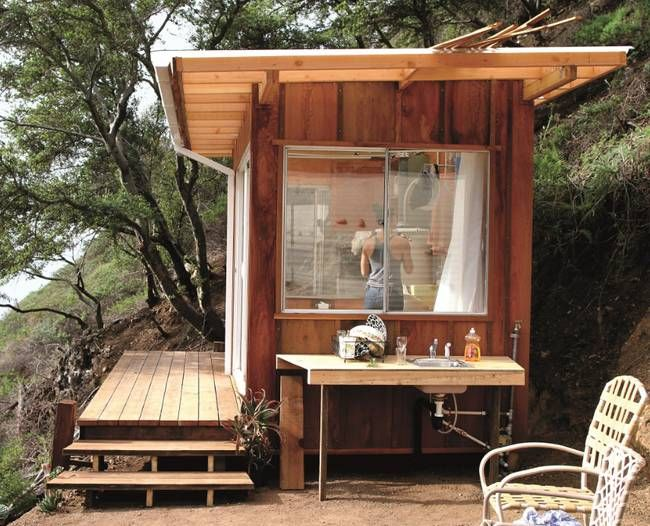 This small building belongs to a group of sheds that are off-grid vintage trailers, in Big Sur on the Pacific Ocean.