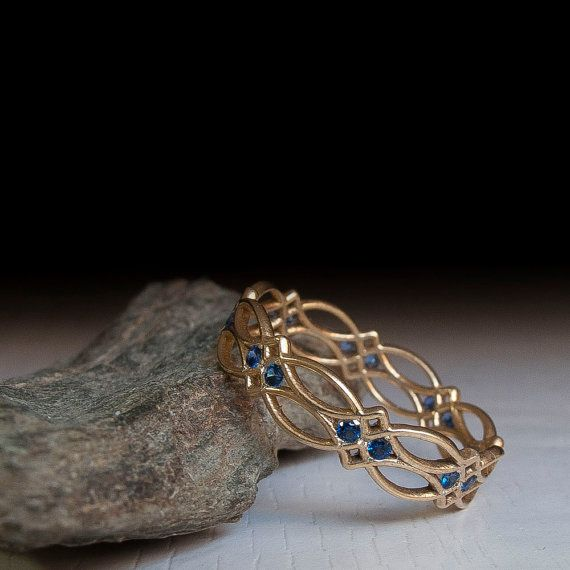 Celtic Ring Eternity Ring Sapphire Ring Blue Stones by ARDONN