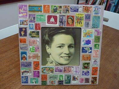 Photo Frame with old postage stamps