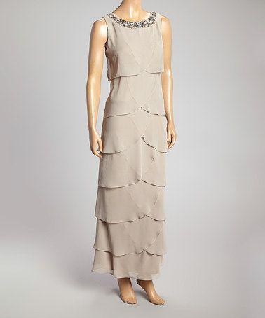 Look what I found on #zulily! Taupe Scallop Tier Yoke Dress - Women by R&M Richards #zulilyfinds