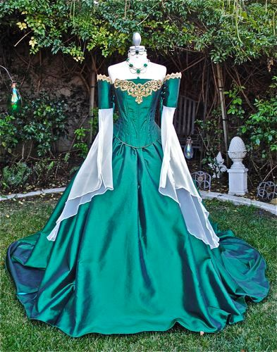 Miranda Medieval Corset Gown Silk and Chiffon by RomanticThreads, $850.00