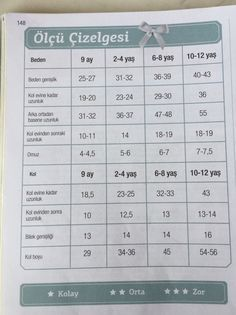 Bebek örgü ölçüleri