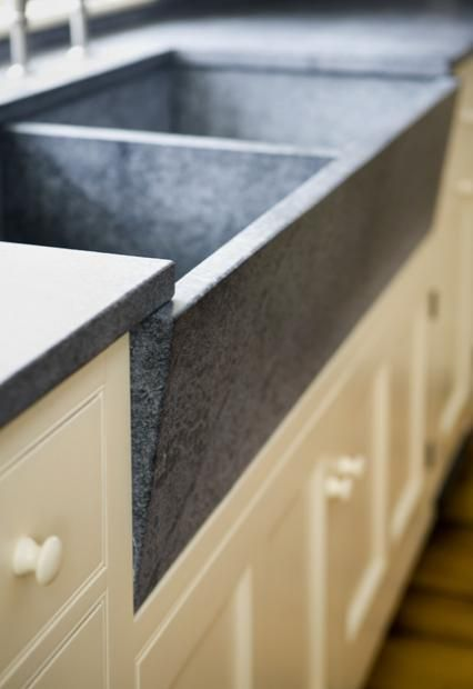 soapstone counter and double farmhouse sink