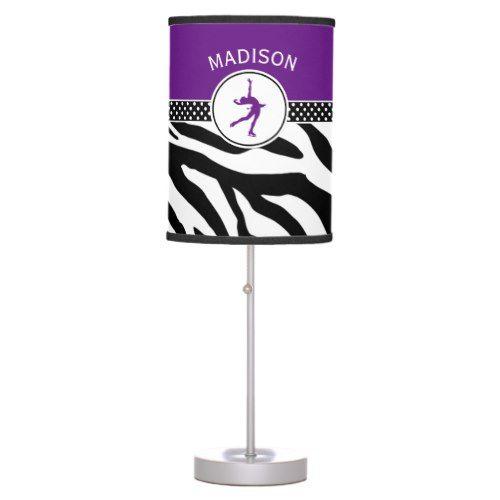 Purple Your Name Zebra Print Figure Skating Desk Lamp