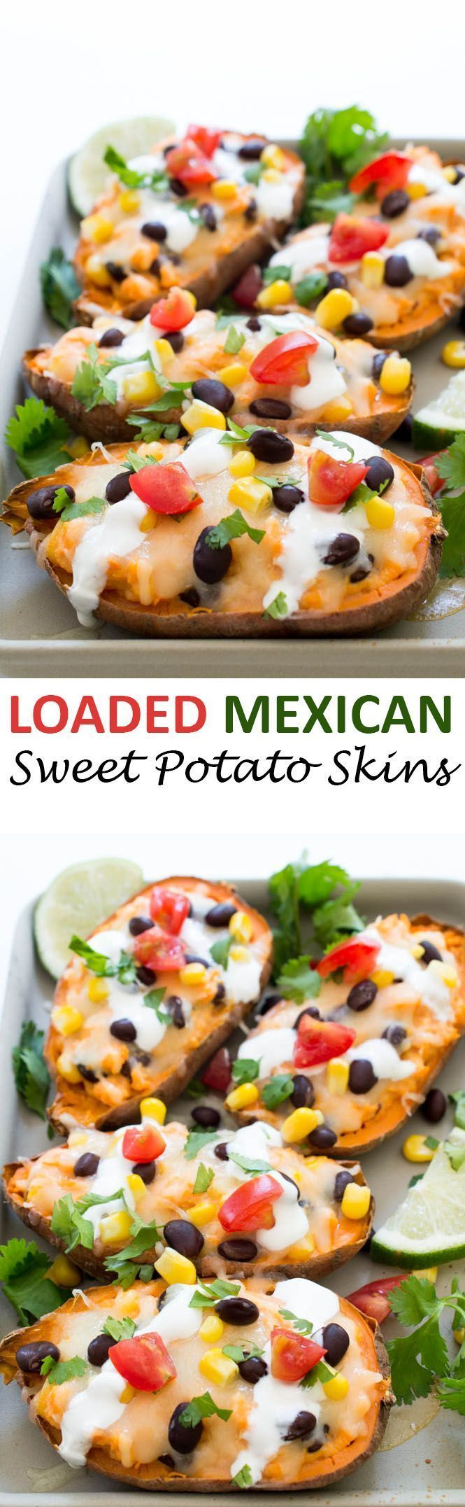 Loaded Mexican Sweet Potato Skins topped with Monterey jack cheese, black beans, corn and tomatoes. The perfect side dish to complement any meal!   chefsavvy.com #recipe #mexican #sweet #potato #skins