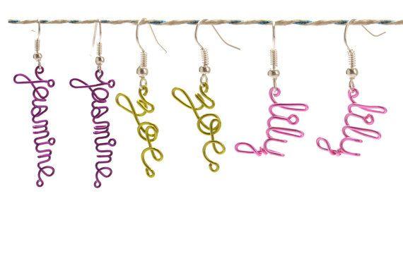 On Sale - 10% Off -Personlized Name Earrings - Custom Childrens Name Earrings - Colorful Dangle Earrings - Little Girls Jewelry