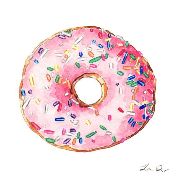 Pink Donut with Sprinkles - Giclee Print of Watercolor - Pink Sprinkles Doughnut Cake Dessert Rainbow Breakfast Brunch Candy Gift for Her