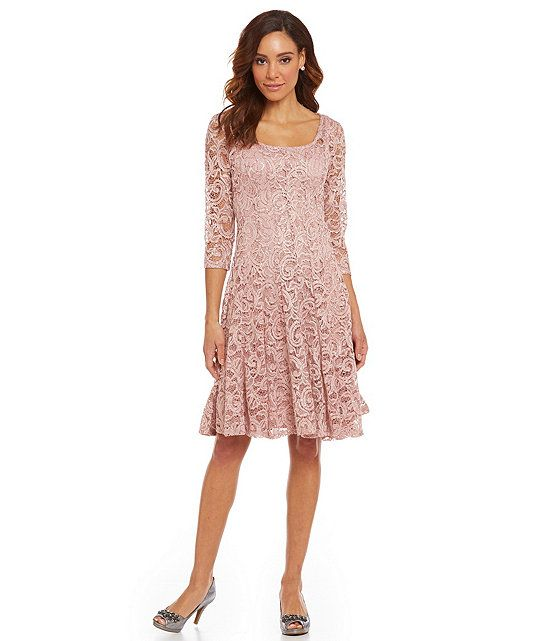 Leslie Fay 3/4 Sleeve Lace Dress