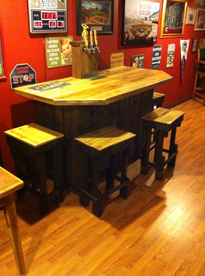 3 tap keezer bar with 4 stools all made with pallets for Home bar with kegerator space